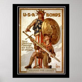 USA War Bonds First World War Vintage poster