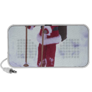 USA, Washington, Bellingham. Toy Santa Claus on iPod Speakers