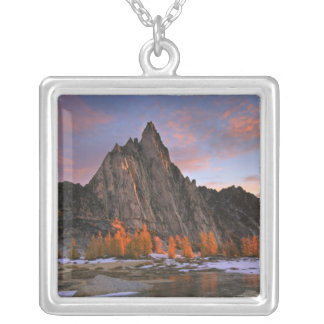 USA, Washington, Cascade Mountains.  Prusik Peak Silver Plated Necklace