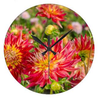 USA, Washington. Dahlia Flowers In Garden Large Clock