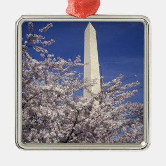 USA, Washington DC. Cherry Blossom Festival and Silver-Colored Square Decoration