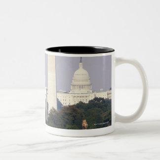 USA, Washington DC, Washington Monument and US Two-Tone Coffee Mug