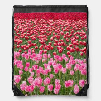 USA, Washington. Field Of Multicolored Tulips Drawstring Bag