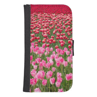 USA, Washington. Field Of Multicolored Tulips Samsung S4 Wallet Case