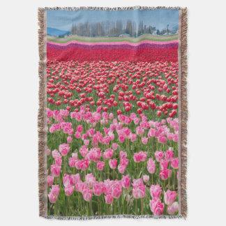 USA, Washington. Field Of Multicolored Tulips Throw Blanket