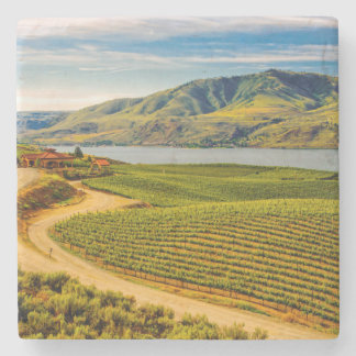 USA, Washington, Lake Chelan. Benson Vineyards Stone Coaster