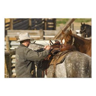 USA, Washington, Malaga, Cowboy preparing for Photo Print
