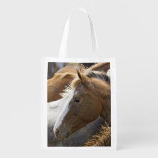 USA, Washington, Malaga, Horse head profile in Reusable Grocery Bag