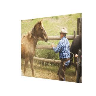 USA, Washington, Malaga, Unmounted cowboy Canvas Print