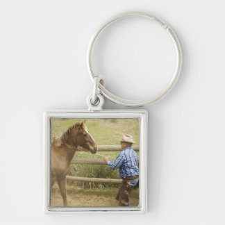 USA, Washington, Malaga, Unmounted cowboy Silver-Colored Square Key Ring