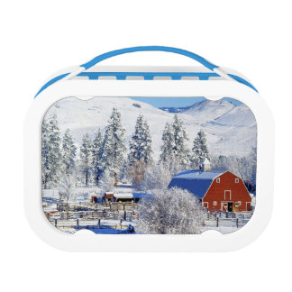USA, Washington, Methow Valley, Barns in Lunch Box