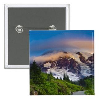 USA, Washington, Mt. Rainier. Morning sun 15 Cm Square Badge