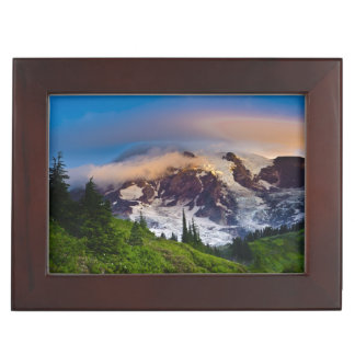 USA, Washington, Mt. Rainier. Morning sun Keepsake Box