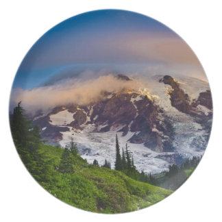 USA, Washington, Mt. Rainier. Morning sun Plate