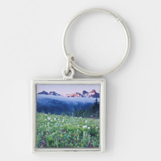 USA, Washington, Mt. Rainier National Park 4 Silver-Colored Square Key Ring