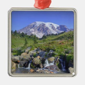 USA, Washington, Mt. Rainier NP, Mt. Rainier and 2 Christmas Ornament