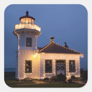 USA, Washington, Mukilteo. Mukilteo Lighthouse Square Sticker