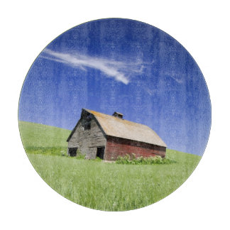 USA, Washington, Old Red Barn in the Spring Cutting Board