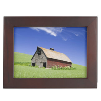 USA, Washington, Old Red Barn in the Spring Keepsake Box