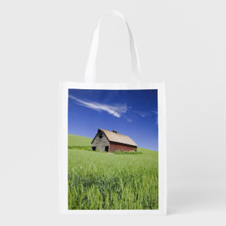 USA, Washington, Old Red Barn in the Spring Reusable Grocery Bag