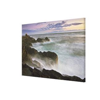 USA, Washington, San Juan Islands.  Waves crash Canvas Print