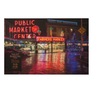 USA, Washington, Seattle, Pike Place Market Wood Wall Art