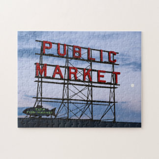 USA, Washington, Seattle, Pike Street Market Jigsaw Puzzle
