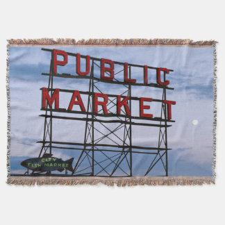 USA, Washington, Seattle, Pike Street Market Throw Blanket