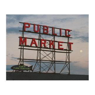 USA, Washington, Seattle, Pike Street Market Wood Print