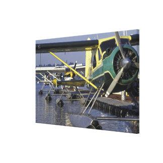 USA, Washington, Seattle, Seaplanes docked on Canvas Print