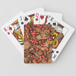 USA, Washington, Spokane County, Hawthorn Leaves Poker Deck