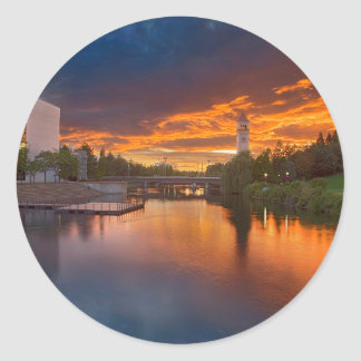 USA, Washington, Spokane, Riverfront Park Classic Round Sticker