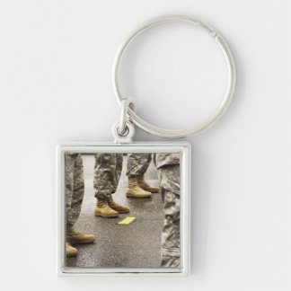 USA, Washington State, Issaquah, Salmon Day's Silver-Colored Square Key Ring