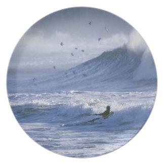 USA, Washington State, La Push. Man kayak Dinner Plate