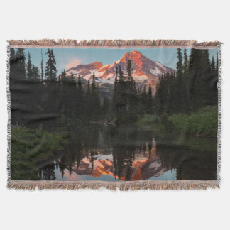 USA, Washington State. Mt. Rainier Reflected Throw Blanket