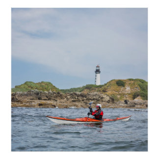 USA, Washington State. Woman Sea Kayaker Poster