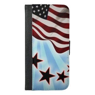 Usa wave flag and stars iPhone 6/6s plus wallet case