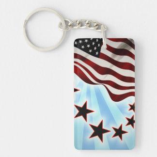 Usa wave flag Double-Sided rectangular acrylic key ring