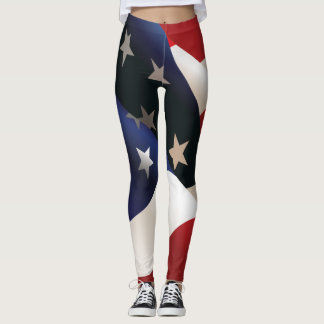USA Waving Flag Leggings