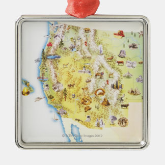 USA, western states of America, map Christmas Ornament