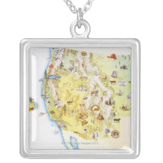USA, western states of America, map Silver Plated Necklace