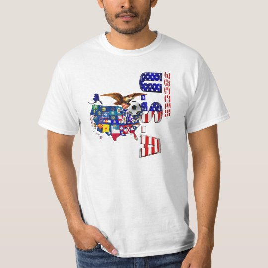 USA World Soccer Map State flags Eagle T-Shirt