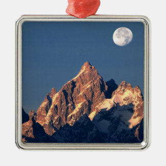 USA, Wyoming, Grand Teton NP. A full moon sets Christmas Ornament