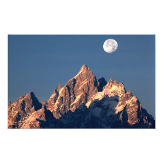 USA, Wyoming, Grand Teton NP. A full moon sets Photo Print