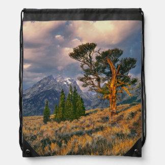 USA, Wyoming, Grand Teton NP. Sunrise greets a Drawstring Bag
