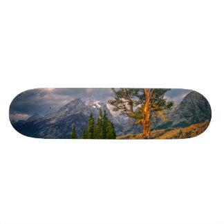 USA, Wyoming, Grand Teton NP. Sunrise greets a Skate Boards