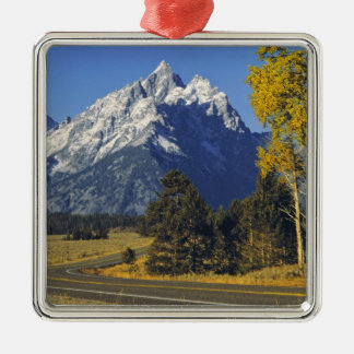 USA, Wyoming, Grand Teton NP. Teton Parkway Silver-Colored Square Decoration