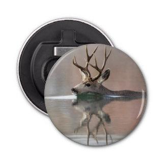USA, Wyoming, Mule Deer buck swimming lake