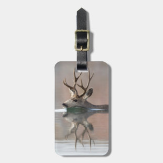 USA, Wyoming, Mule Deer buck swimming lake Luggage Tag
