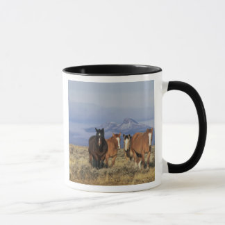 USA, Wyoming, near Cody Group of horses, Heart Mug